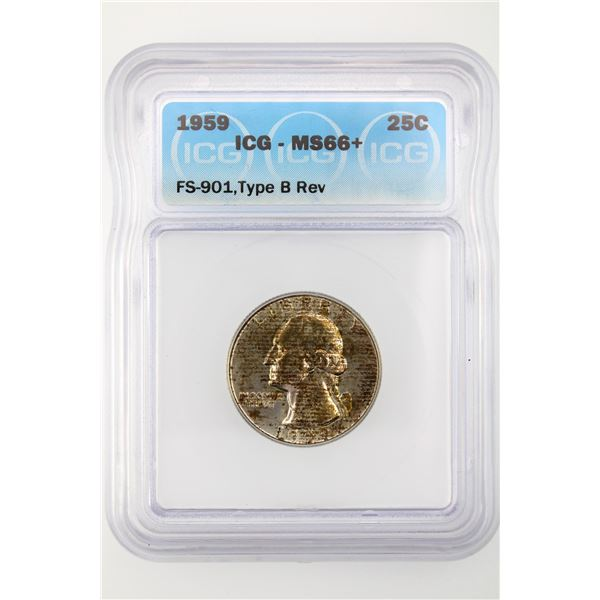 1959 Washington Quarter ICG MS-66+ Type B Reverse FS-901 Price Guide $1100