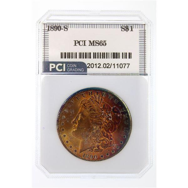 1890-S Morgan Silver Dollar PCI MS-65  Price Guide $1000 AMAZING COLOR!!
