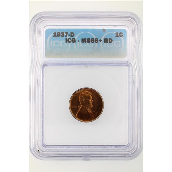 1937-D Lincoln Cent ICG MS-66+ Red