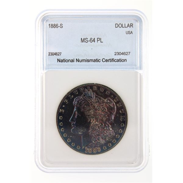 1886-S Morgan Silver Dollar NNC MS-64 PL BEAUTIFUL IRIDESCENT BLUE TONING!!