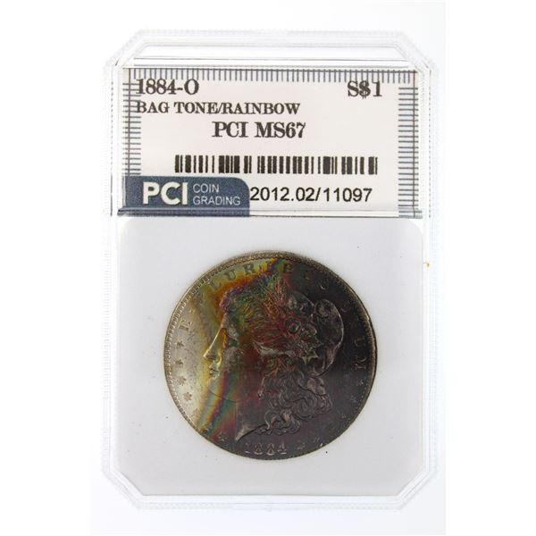 1884-O Morgan Silver Dollar  PCI MS-67 Price Guide $3000 BAG TONED RAINBOW W/ TRACE CANVAS BAG DET.