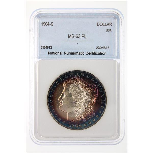 1904-S Morgan Silver Dollar NNC MS-63 PL Price Guide $6500 INCREDIBLE BLUE RIM TONING!!