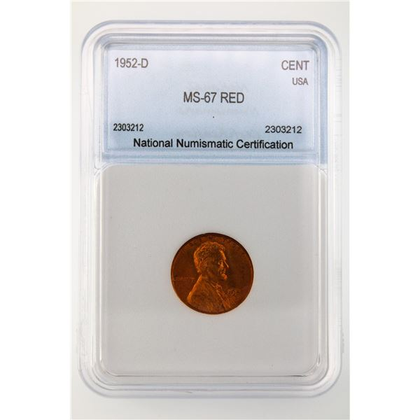 1952-D Lincoln Cent NNC MS-67 Red
