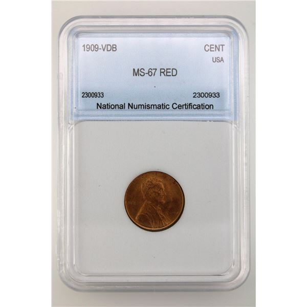 1909-VDB Lincoln Cent NNC MS-67 Red