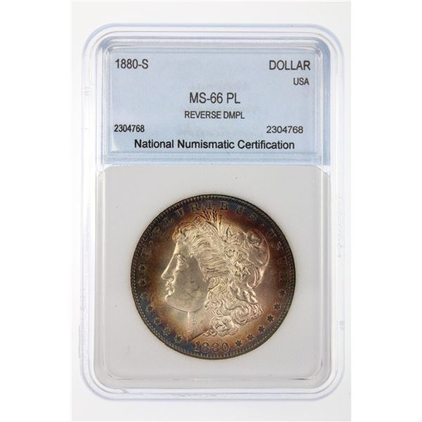 1880-S Morgan Silver Dollar NNC MS-66 PL Reverse DMPL Price Guide $575 IMPRESSIVE TONING!!