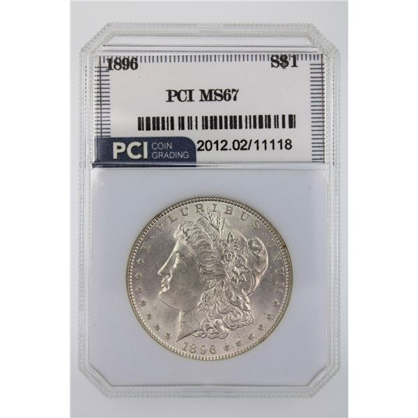 1896 Morgan Silver Dollar PCI MS-67  Price Guide $2000 BEAUTIFUL AND LUSTROUS!!