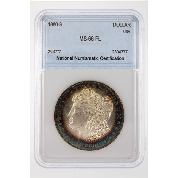 1880-S Morgan Silver Dollar NNC MS-66 PL Price Guide $575 AWESOME TONING!!