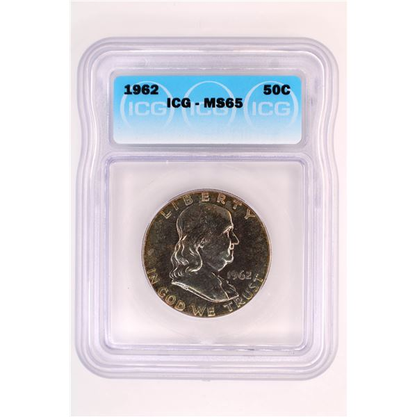 1962 Franklin Half Dollar ICG MS-65