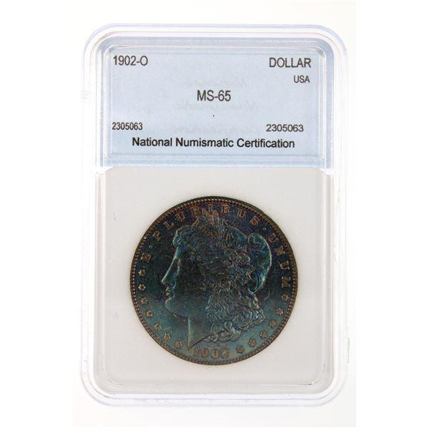 1902-O Morgan Silver Dollar NNC MS-65 Iridescent Blue Price Guide $275