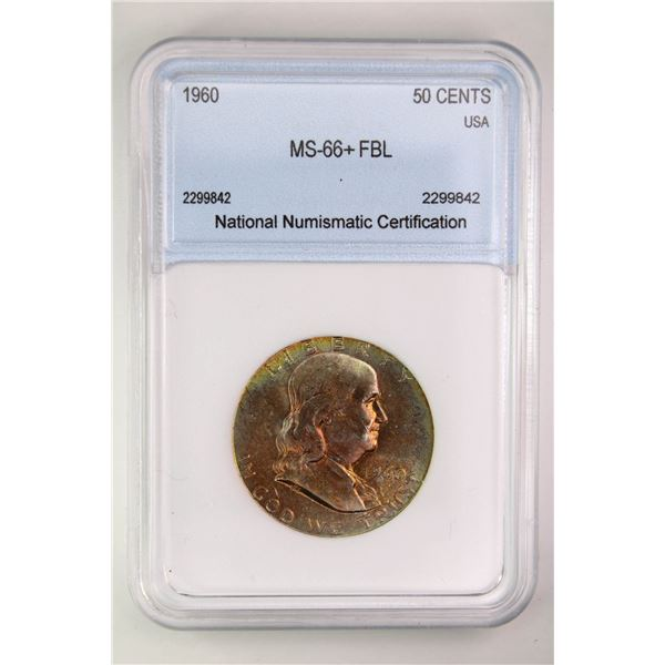1960 Franklin Half Dollar NNC MS-66+ FBL Price Guide $2600