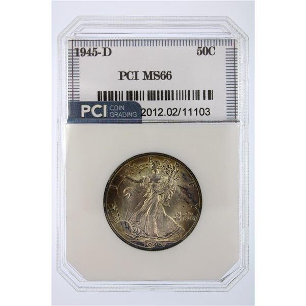1945-D Walking Liberty Half Dollar PCI MS-66  Price Guide $160