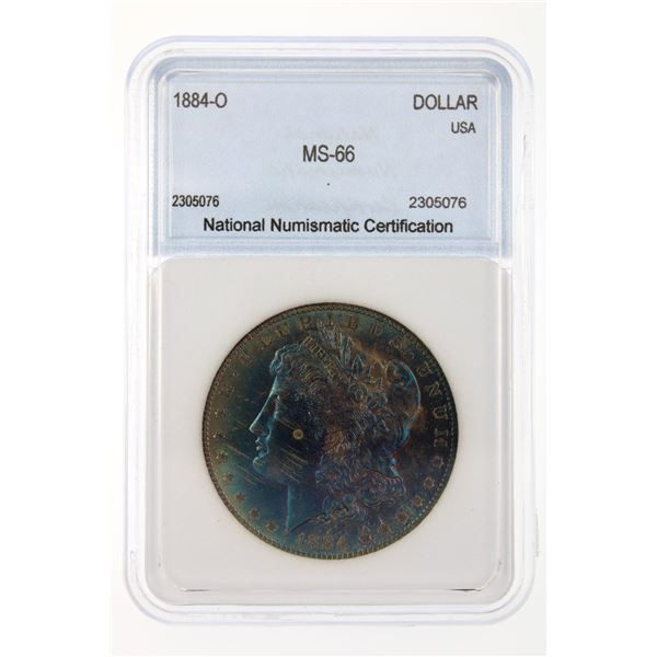 1884-O Morgan Silver Dollar NNC MS-66 Iridescent Blue Price Guide $400