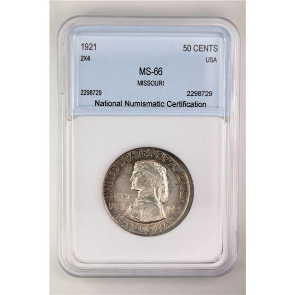 1921 Missouri Centennial NNC MS-66 Silver Commemorative 2X4