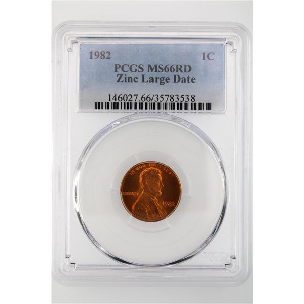 1982 Lincoln Cent PCGS MS-66 RD Zinc Large Date