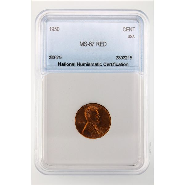1950 Lincoln Cent NNC MS-67 Red