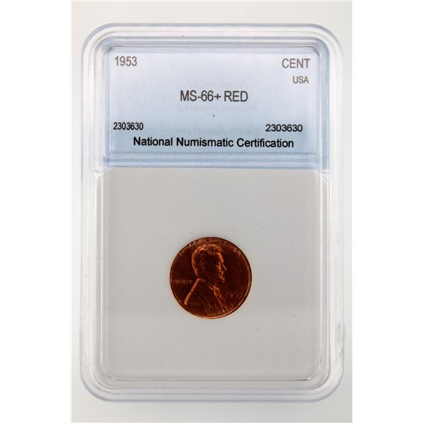 1953 Lincoln Cent NNC MS-66+ Red