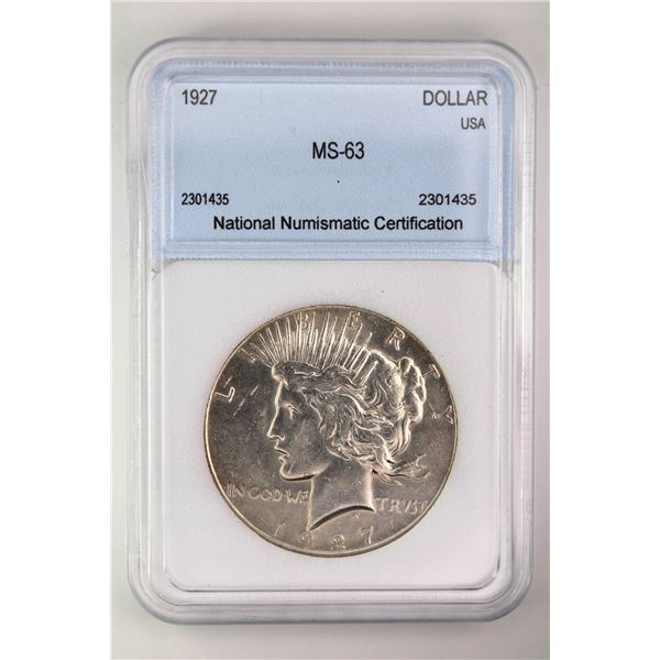 1927 Peace Dollar NNC MS-63 Price Guide $250