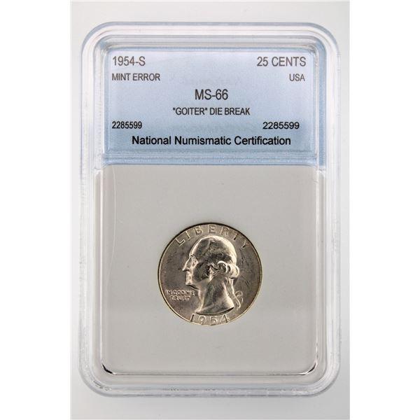 """1954-S Washington Quarter NNC MS-66 Mint Error """"GOITER"""" Die Break"""