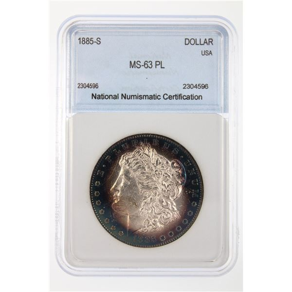 1885-S Morgan Silver Dollar  NNC MS-63 PL Price Guide $750