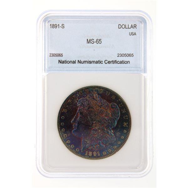 1891-S Morgan Silver Dollar NNC MS-65 Rainbow Tone Price Guide $1400