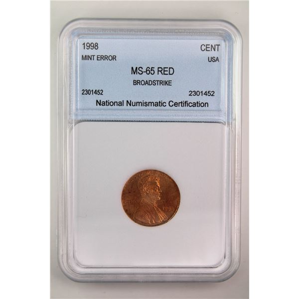 1998 Lincoln Cent NNC MS-65 Red Broadstrike Mint Error