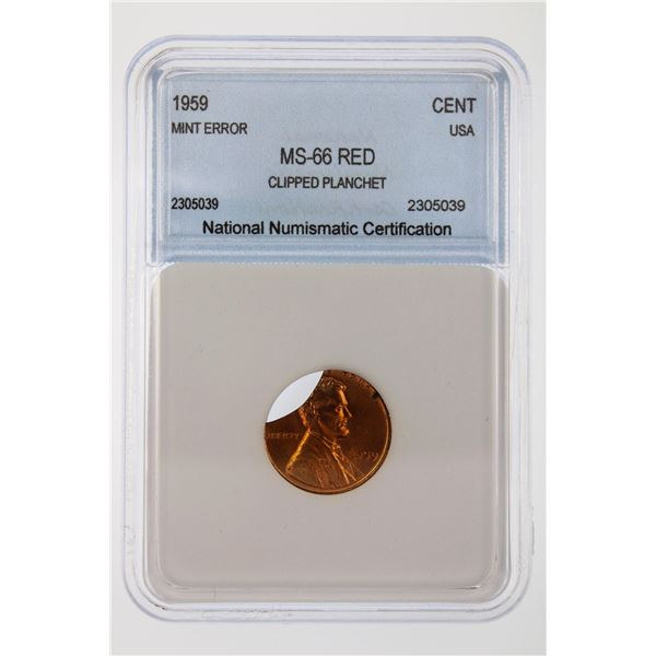 1959 Lincoln Cent NNC MS-66 RD Mint Error Clipped Planchet