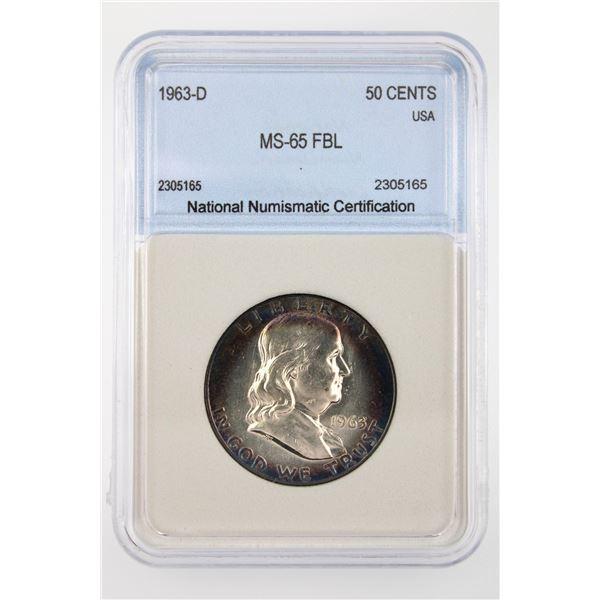 1963-D Franklin Half Dollar NNC MS-65 FBL