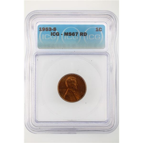1953-S Lincoln Cent ICG MS-67 Red