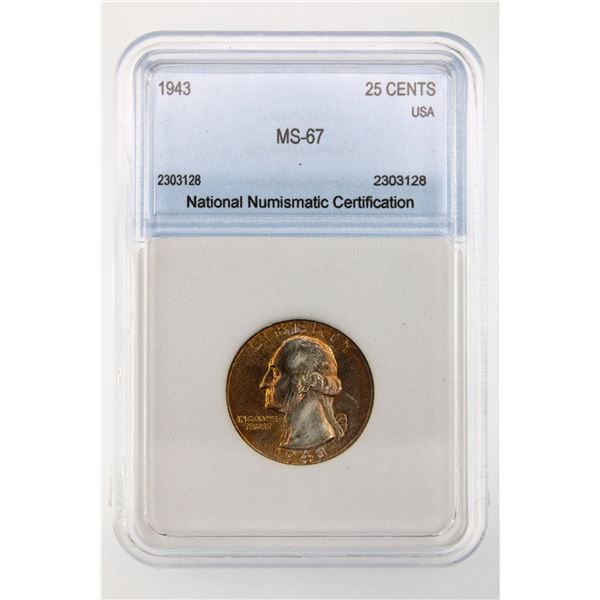 1943 Washington Quarter NNC MS-67 Price Guide $300