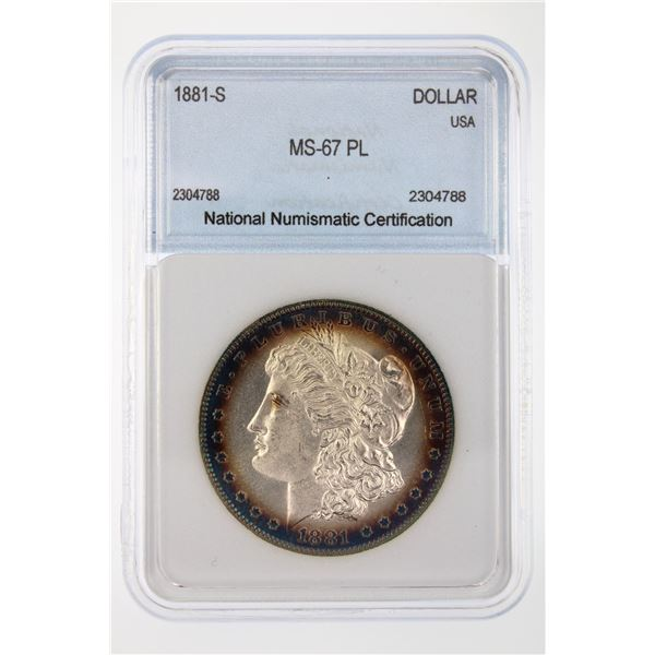 1881-S Morgan Silver Dollar NNC MS-67 PL Price Guide $1800
