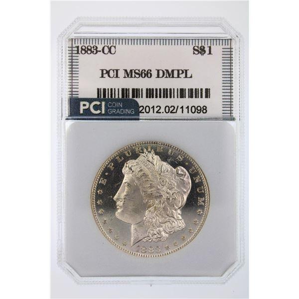 1883-CC Morgan Silver Dollar DMPL PCI MS-66 DEEP MIRROR BOLD CAM HIGH VALUE Price Guide $2800