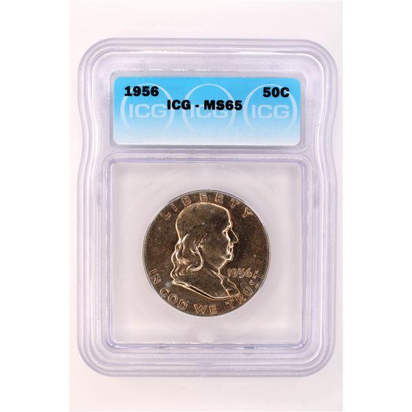 1956 Franklin Half Dollar ICG MS-65