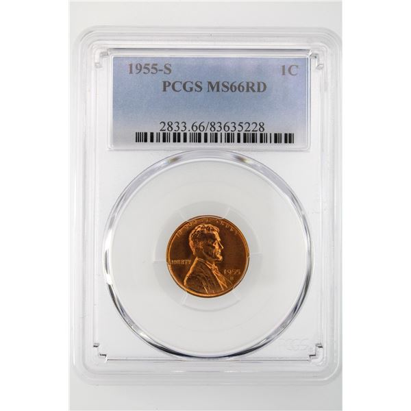 1955-S Lincoln Cent PCGS MS-66 RD
