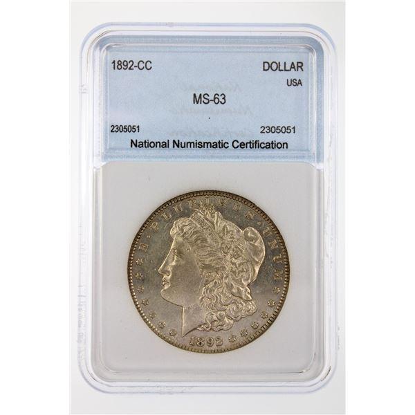 1892-CC Morgan Silver Dollar  NNC MS-63  Price Guide $2500