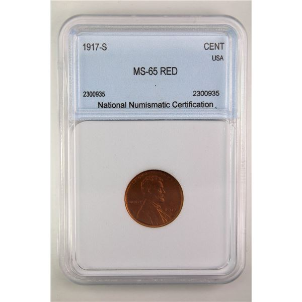 1917-S Lincoln Cent NNC MS-65 Red