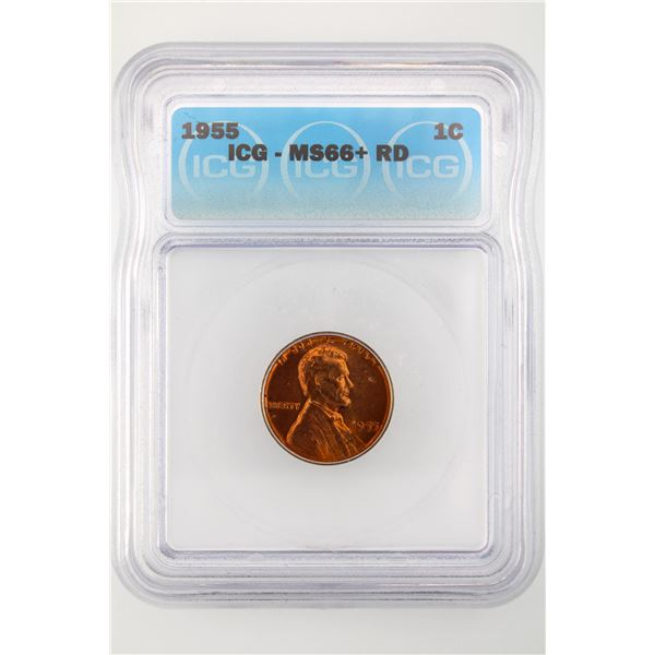 1955 Lincoln Cent ICG MS-66+ Red