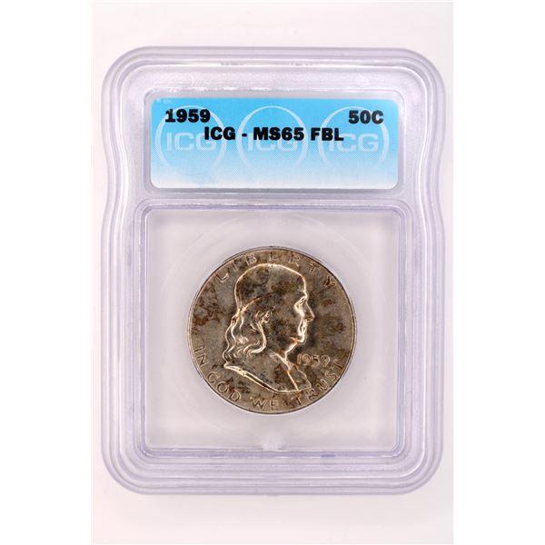 1959 Franklin Half Dollar ICG MS-65