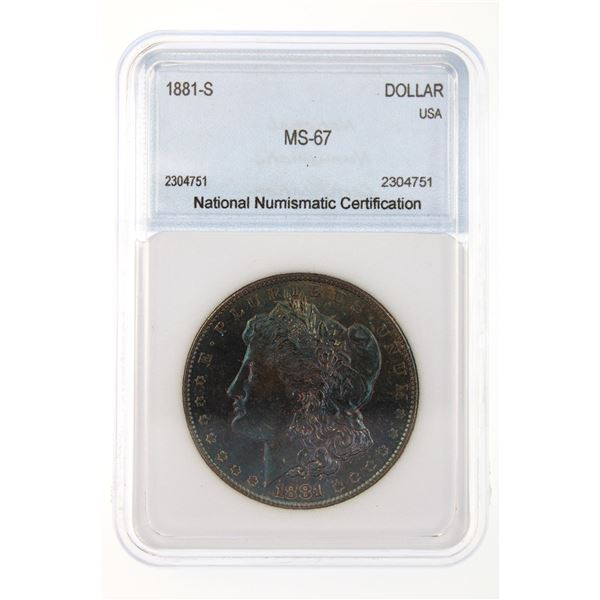 1881-S Morgan Silver Dollar NNC MS-67 Iridescent Blue Price Guide $1000
