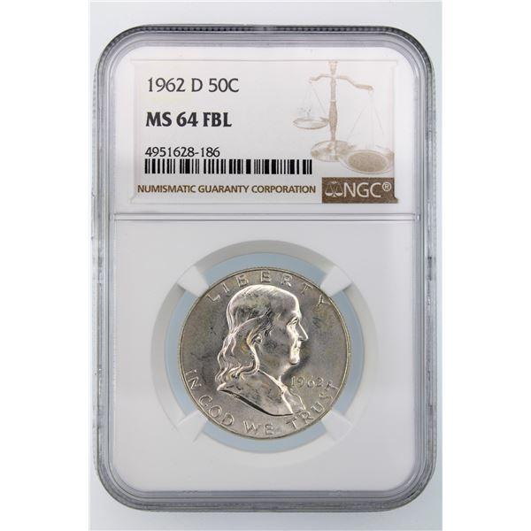 1962-D Franklin Half Dollar NGC MS-64 FBL
