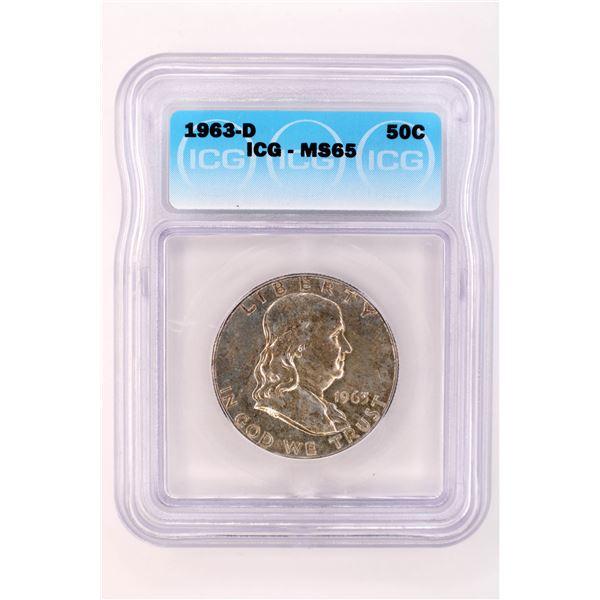 1963-D Franklin Half Dollar ICG MS-65