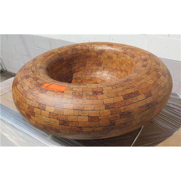 Allstate Wood-Like Plastic Mosaic Shallow Vessel