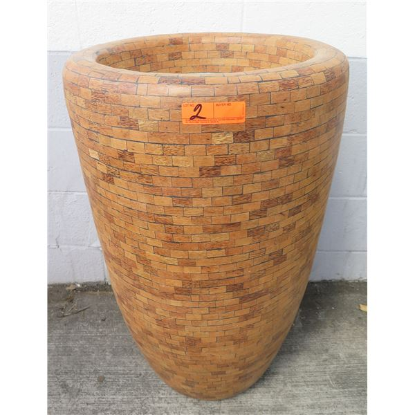 "Allstate Wood-Like Plastic Mosaic Vessels 20""D x33""H"
