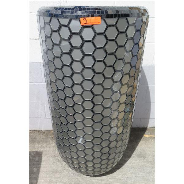 """Planter/Vessel w/ Mirrored Hexagonal Mosaic Tiles 24""""D x 49""""H"""