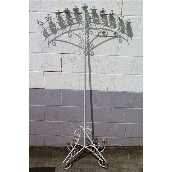 Tall White Metal 11 Cup Candle Holder w/ Pedestal Base