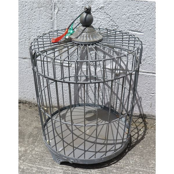 Round Metal Footed Bird Cage w/ Opening & Hanging Option at Top