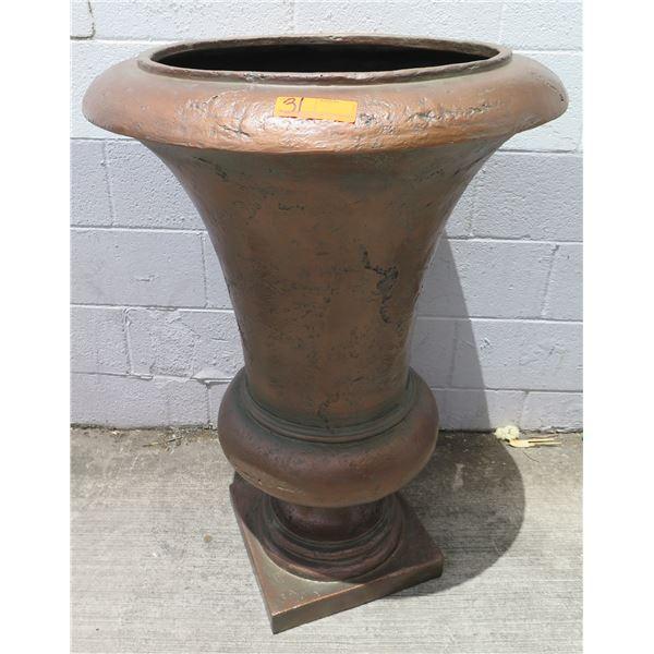 Brown Urn Planter on Pedestal Base