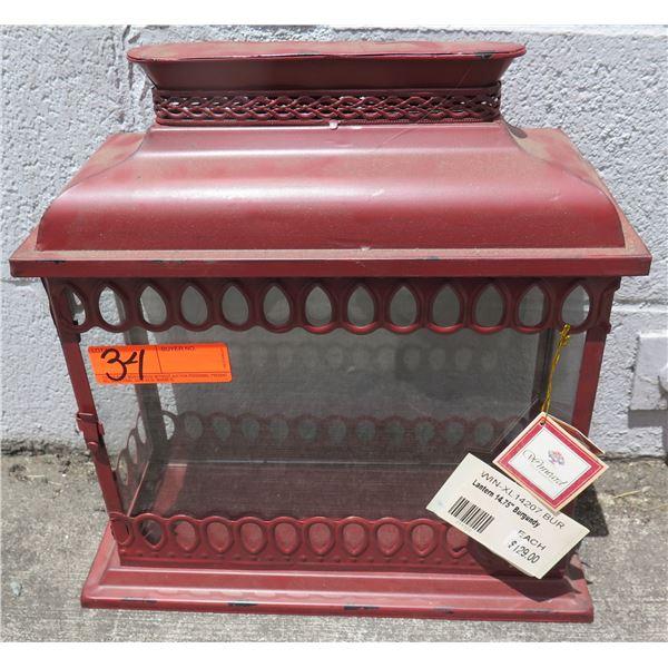 """Winward Burgundy Lantern w/ Side Opening 14.75"""" (Retail $129)"""