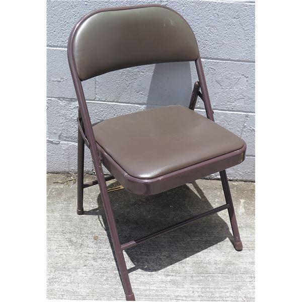 "Qty 8 Folding Metal Chairs w/ Padded Seat & Back 19""x8""x38""H"
