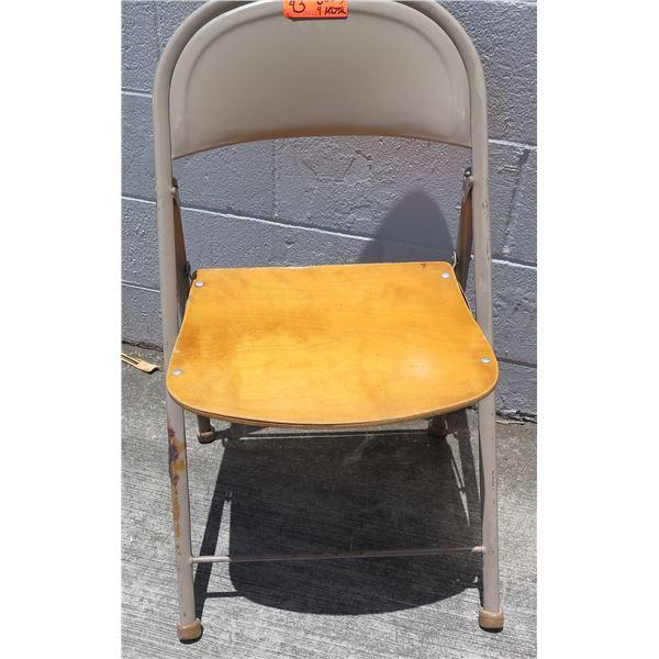 Qty 12 Folding Metal Chairs - 8 w/ Wooden Seats