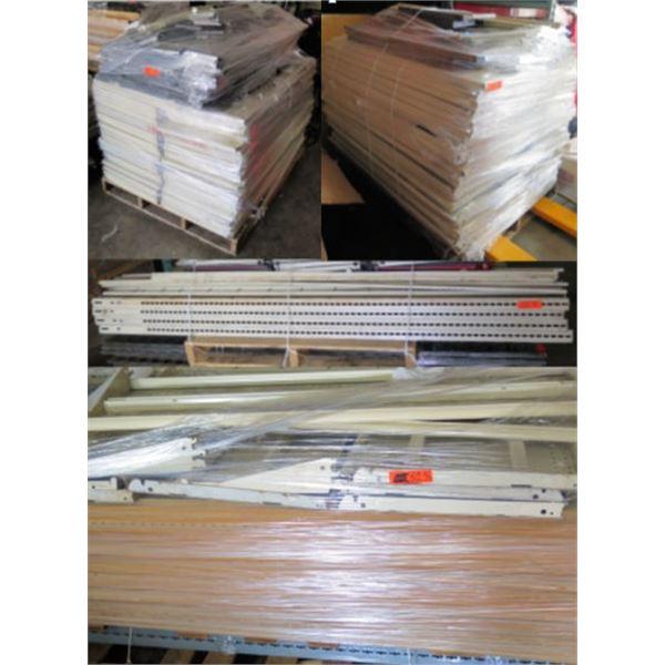 Qty 4 Pallets Metal Shelf Parts Unassembled